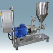 Inline High Shear Mixer 410 with trolley, panel control, CIP discharge system and hopper